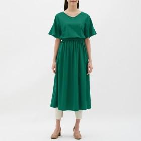 (GU)ウエストマークワンピース(5分袖) GREEN M