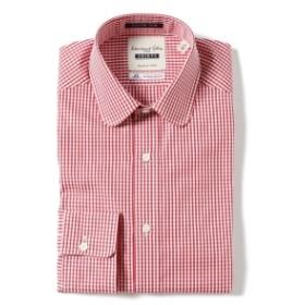 I.G.BEAMS / カスタムスリム レッドチェック ラウンドカラーシャツ メンズ ドレスシャツ RED CHECK 38