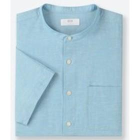 リネンコットンスタンドカラーシャツ(半袖)