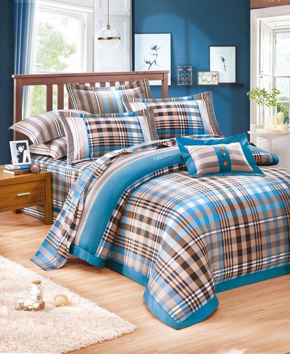 《奧斯汀品牌 美國棉 精梳棉》四件式兩用被床包組5尺-英倫風情