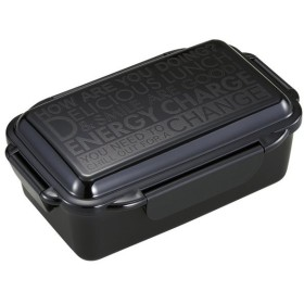 オーエスケー エナジーチャージ 4点ロック式 お弁当箱 650ml (仕切付) ブラック PCD-650