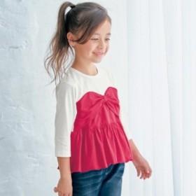 リボンビスチェドッキングTシャツ【子供服 女の子】【通園 通学】