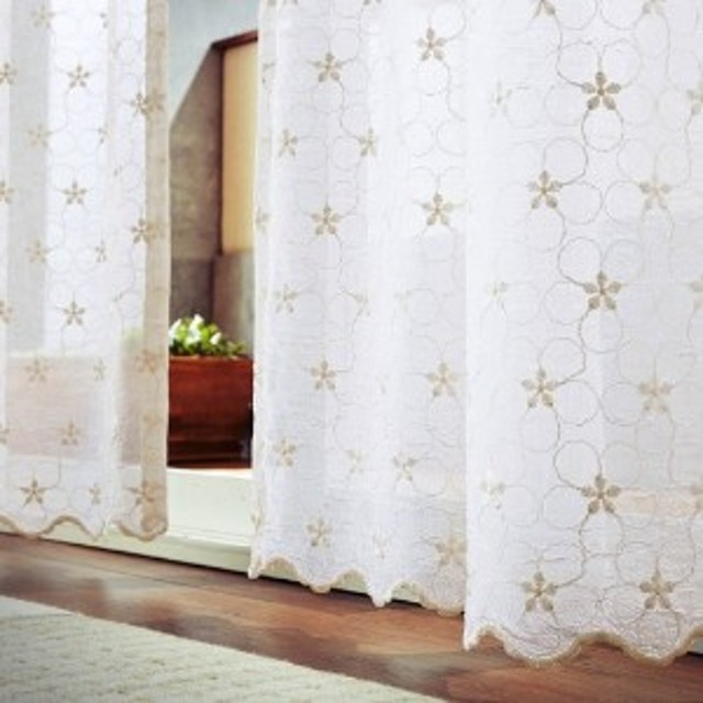【58サイズ】スカラップがかわいいトルコ刺繍レースカーテン