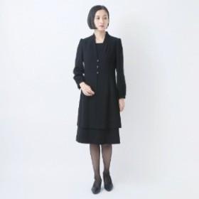 【喪服・礼服】ブラックフォーマル前開きワンピース【7号~17号】