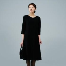 【喪服・礼服】日本製の洗えるブラックフォーマルワンピース【9AR~17AR】
