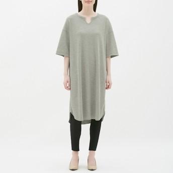 (GU)キーネックTワンピース(5分袖) GRAY XL