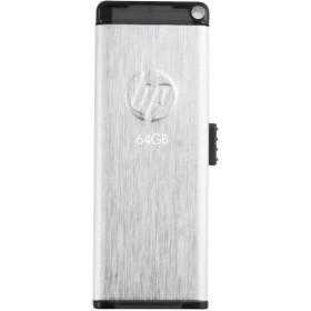HP USBメモリ 64GB USB 2.0 伸縮式、ブラシテクスチャ、ステンレス鋼のフラッシュドライブ v257w HPFD257W-64