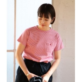 BEAMS BOY / ミジンコ ボーダー ポケット Tシャツ 19 レディース Tシャツ RED×WHITE ONE SIZE