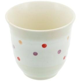 美濃焼 軽い器 湯呑 白化粧 水玉 ピンク K90043