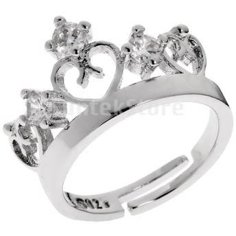 Dovewill クラウンリング 結婚指輪 アクセサリー クリスタル バンド調整可能 シルバー 1ペア