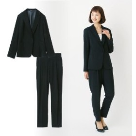 【自宅で洗える】ひとつボタンテーラードジャケット&タックパンツ2点セットスーツ