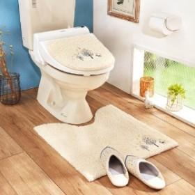 刺繍入りもこもこトイレマット&温水洗浄フタカバー(単品・セット)