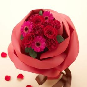 【日比谷花壇】バラの形の花束ペタロ・ローザ「モードレッド」
