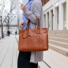 【50%OFF】通勤通学にも♪A4対応レザートートバッグ