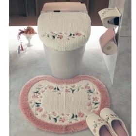 たっぷり刺繍のトイレマット・フタカバー(単品・セット)
