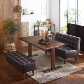 アルダー材のダイニングテーブル+ソファー3点セット
