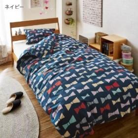 綿100%リボン柄の掛け布団カバー・枕カバー(単品)/西川リビング