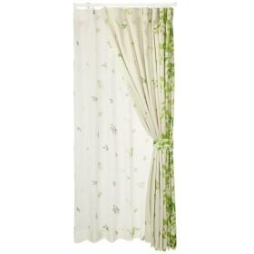 (ベルーナ)BELLUNA 絵羽柄遮光カーテン&同柄ボイルセット リーフ 約幅100×丈135cm(各2枚)