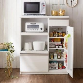 キッチン小物もまとめて収納できる家電ラック
