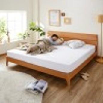キングサイズ!アルダー材のシンプルベッド(シングルマットレス2個付き)