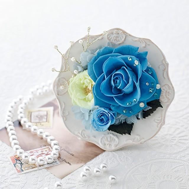 【日比谷花壇】プリザーブドアレンジメント ジュエルローズ「ターコイズ」
