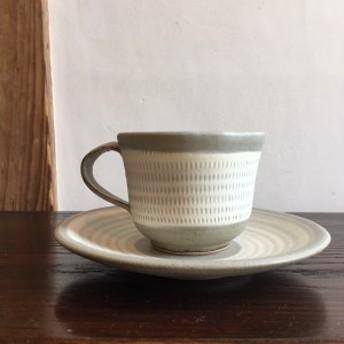 〈小石原焼〉カップ&ソーサー 手作り 福岡 民芸 シンプル 陶器 飛び鉋