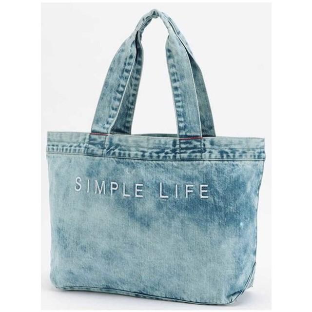 SIMPLE LIFE / ケミカルウォッシュデニムトートL
