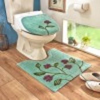 花柄のトイレマット&O/U・温水洗浄便座兼用フタカバー(単品・セット)