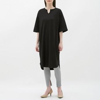 (GU)キーネックTワンピース(5分袖) BLACK XL