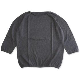 F/style エフスタイル ホールガーメントの綿ニット/丸首・七分袖