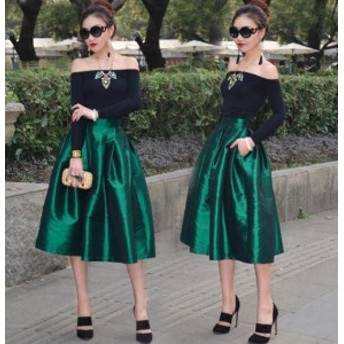 ミモレ丈スカート シェードスカート 赤 緑 大人 韓国 ロングスカート 20代 春新作スカート デート服レディース|cr0088