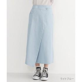 【20%OFF】 メルロー Iラインコットンラップスカート レディース ライトブルー FREE 【merlot】 【セール開催中】