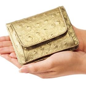 ベルーナ 小銭も見やすい小さい牛床革財布 型押オーストリッチブルー 1 レディース