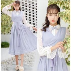 レディースドレス シャツ+ワンピース 2点セット 中国風 エレガント 天使風 ミモレ丈ドレス キャンディ袖