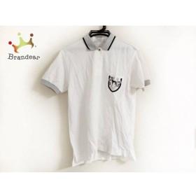 アダバット Adabat 半袖ポロシャツ メンズ 美品 白×グレー   スペシャル特価 20190710