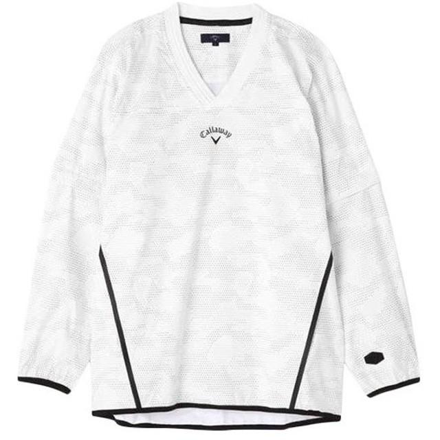 キャロウェイ(Callaway) メンズ ゴルフ Vネックブルゾン ホワイト 241-9110521-030 ゴルフウェア ジャケット 防寒 アウター