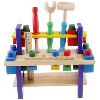 ノーブランド品 赤ちゃん 子供 パズル ツール ナットセット 木製 知育玩具 組み合わせ