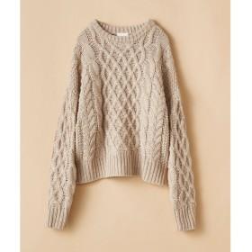 haco! 【mer2月号掲載】古着屋さんにありそうな ざっくり編みがかわいいウール混ケーブルニットby que made me(ベージュ)