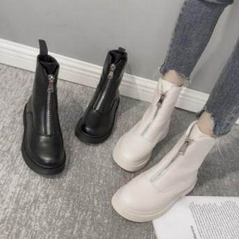 ブーツ レディース 靴 ショート丈 フロントジッパー フラット 厚底ブーツ アンクルブーツ シンプル ブラック ベージュ 2019新作 冬 春