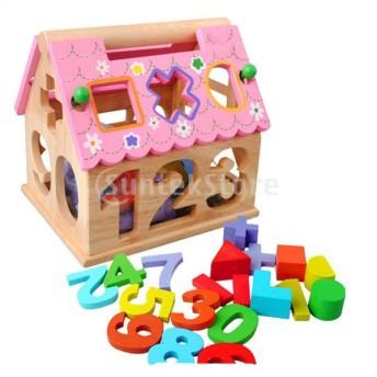 ノーブランド品 木製玩具 パズル ソーター ブロック 家形 子供 おもちゃ