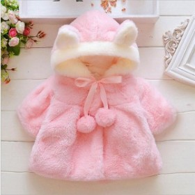韓国子供服ベビー服コートジャケット女の子裏起毛裏ボアウサギの耳長袖暖かい防寒秋冬