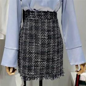 レディース ツイードフリンジタイトスカート