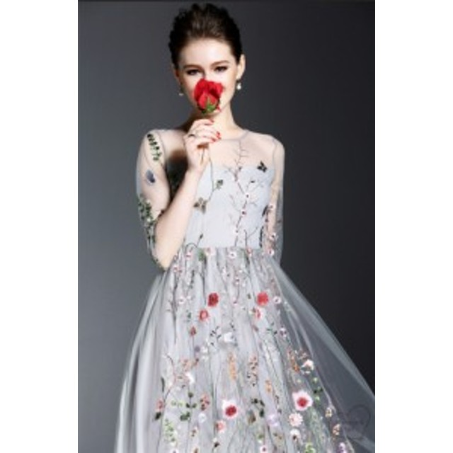 結婚式 ワンピース レディース ミモレ丈 ドレス レース 花柄 パーティードレス  お呼ばれ 披露宴 演奏会 成人式二次会