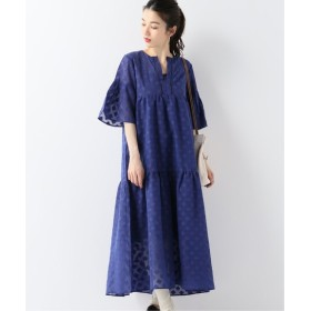 JOURNAL STANDARD 【SARA MALLIKA/サラマリカ】JACQUARD FRILLED SLEEVE DRESS ブルー A フリー