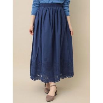 グリーンパークス Green Parks カットワーク刺繍ロングスカート (Dark Blue)