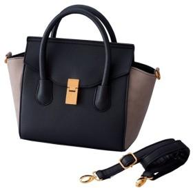 40%OFF【レディース大きいサイズ】 異素材使いバイカラーハンドバッグ(長めショルダー紐付き) ■カラー:ブラック