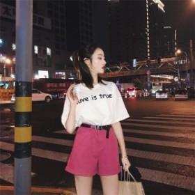 夏レディーススーツシャツパンツズボン5分袖半袖デニムパンツ2点セット韓国風披露宴二次会上下セットレジャー春夏新作 セットアップ