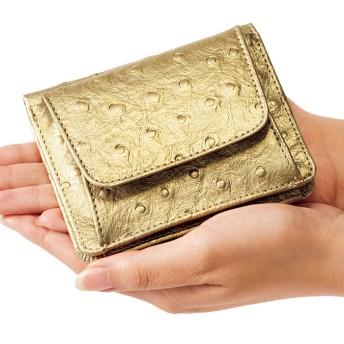 ベルーナ 小銭も見やすい小さい牛床革財布 型押オーストリッチ 1 レディース