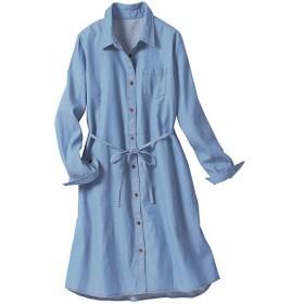 【レディース大きいサイズ】 ロングシャツ(綿100%) - セシール ■カラー:フェードブルー ■サイズ:5L