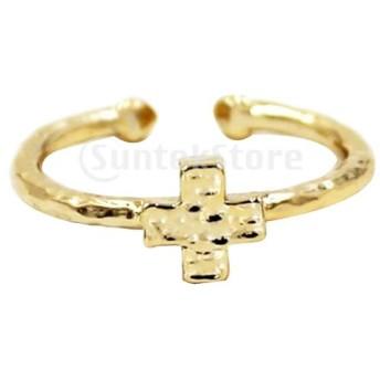 女性 オープンリング 指輪 ジュエリー ファッション 繊細 日常生活 調節可能 ゴールド 全2種類 - 十字架